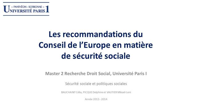 f97adee1da6 Les recommandations du Conseil de l Europe en matière de sécurité sociale  (Célia Bauchaint